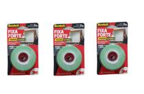 Fita Dupla Face Espuma Fixa Forte 3m 24mmx2m - 5kg Kit C/3 -