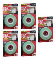 Fita Dupla Face Espuma Fixa Forte 3m 24mmx2m - 5kg Kit C/5 -