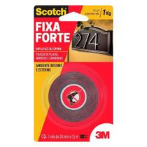 Fita dupla face fixa forte ambiente externo 24mmx1,5m 3M -