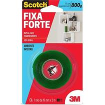 Fita dupla face scotch fixa forte transparente 19mmx2m - 3m -