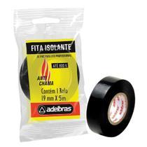 Fita Isolante Antichama 19mm x 5m Preto 1 UN Adelbras -