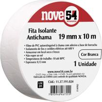 Fita isolante pvc 19mmx10m branca anti chama - Nove54 -
