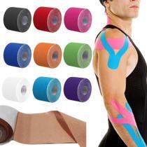 Fita kinesio tape bandagem elastica fisioterapia adesiva muscular alivio dor lesao atleta cinesiologia - MAKEDA