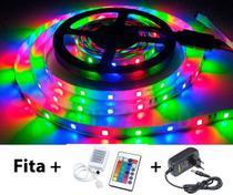Fita LED 2835 RGB Colorida 5m 300 LEDS IP20 + Controle + Fonte - Boreal Led