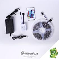Fita LED 5050 12v RGB IP65 5 Metros Com Controle + Fonte Kit 5 - Green Age