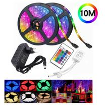Fita Led 5050 Rgb Colorida Com Cola 10m Kit Completo 110/220 -