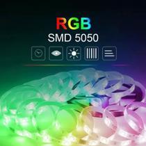Fita Led 5050 Rgb Colorida Com Cola 5m Kit Completo Bivolt -