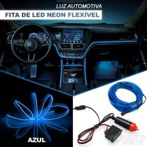 Fita LED Automotiva Luz Neon Interna Azul Painel e Portas Carro Tunning 5 metros - Nacional