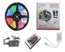 Fita Led Colorida 5mts 16 Cores Com Adaptador 5a E Controle - TEEM