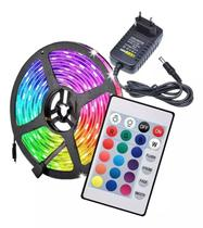 Fita Led Colorida RGB 3528w  5m Prova D'água + Controle + Fonte 12V -