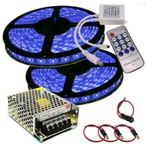 Fita Led Kit 10m (2 rolos 5m) SMD 5050 - COR ÚNICA+ Dimmer+ Fonte 5A - Importada