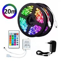 Fita LED Rgb 5050 20m Colorido Dupla Face C/ Controle e Fonte - As Emporio