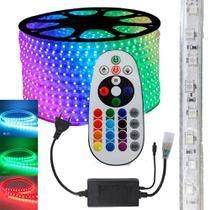 Fita LED RGB 5050 3m Premium Grossa Resistente C/ Fonte - Kit Led