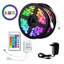 Fita LED Rgb 5050 Rolo 15m Colorido Prova D'Água Kit Completo - As Emporio