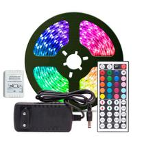Fita LED RGB 5050 Rolo 5 metros Fonte 12V 3A e Controle Remoto - KIT LED
