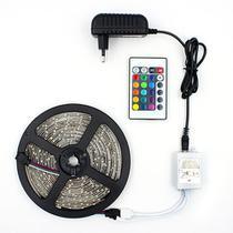 Fita LED RGB 5050 Rolo 5M com Fonte 12V 3A e Controle Remoto - KIT LED