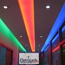 Fita Led RGBW 5050 perfil, sanca rolo 5m 24w 300 Leds com fonte, controladora e controle - Led Strip