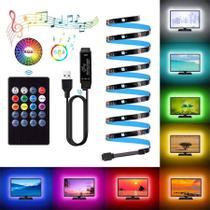 Fita Led USB Musical SMD 5050 3 Metros com sensor de som, BackLight TV Controle Remoto com Bateria - Paes & Almeida