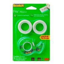 Fita Mágica Transparente Scotch 3M com Dispensador 12mm x 10m 3 Rolos -