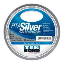 Fita Silver Adesiva Multiuso Reforçada com Tecido Tekbond Cor Prata 48mm x 5mm -