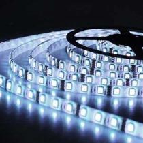 Fita Super LED 5050 Rolo 5 Metros C/ Silicone e Fita Dupla Face + Fonte (Cor : Branco Frio) - Power Xl