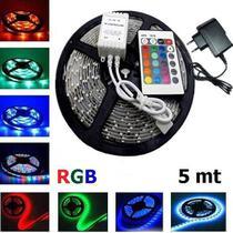 Fita super led 5mt rgb 5050 colorida prova d' agua + controle + fonte - Lcg Eletro