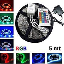 Fita Super Led 5mt Rgb 5050 Colorida Prova D' Agua + Controle + Fonte - Mkb