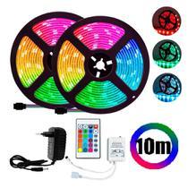 Fita Super LED Rgb 10m 5050 Colorida Kit Com Controle e Fonte - As Emporio