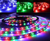 Fita Super LED RGB 5m Colorido 5050 Sem silicone + Fonte 12v 3 amper- Jikatec -