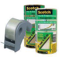 Fita Transparente de Empacotamento 45x45 (Caixa c/ 48 Rolos) + Aplicador de fitas 3M Scotch -