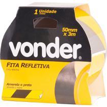 Fita zebrada adesiva refletiva 50mmx3m amarela e preta - Vonder -