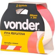 Fita zebrada adesiva refletiva 50mmx3m branca e vermelha - Vonder -