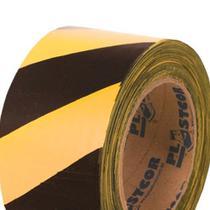 Fita zebrada plastcolor amarela e preta -