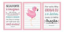 Flamingo Salmos Seja Forte Placas Infantil Quarto Menina - Neyrad