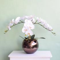 Flor Artificial Arranjo de 3 Orquídeas Silicone Brancas no Vaso Vidro Bronze  Formosinha -