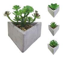 Flor Artificial Suculenta + Vaso Cimento Triângulo - Coisaria