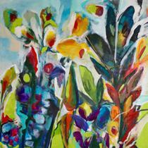 Floral Acrílico III (2017) - Tania Martins - 50x50 - Tela Canvas Para Quadro - Santhatela