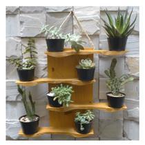 Floreira de madeira para suculentas ou mini cactus Modelo Oceano - Cor Amarelo Queimado - Madetop