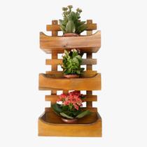 Floreira de Parede Rústica Com 3 Cachepôs Suporte Para Plantas Flores Imbuia - Palleter -