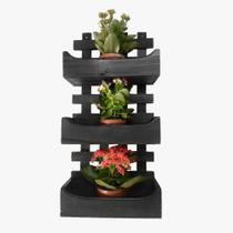 Floreira de Parede Rústica Com 3 Cachepôs Suporte Para Plantas Flores Preta - Palleter -