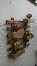 Floreira Estrado de Parede Madeira Rústica Pack 2 unds - Macrústicos