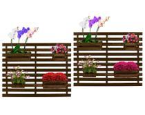Floreira Jardim Vertical Madeira 100 x 82cm 4 Cachepôs Cor Imbuia - Kit com 2 - Decore Fácil
