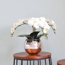 Flores artificiais Arranjo de Orquídeas Branco no Vaso Rose Gold - Formosinha