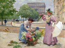 Florista no Champs Elyseés - Louis de Schryver - Tela 30x41 Para Quadro - Santhatela