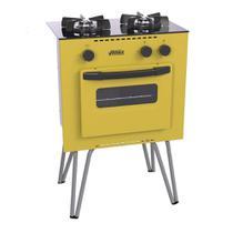 Fogao a Gas Mini Cook 2 Q amarelo Gás Glp - Venax