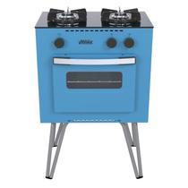 Fogao a gas mini cook 2 q azul gas glp - Venax