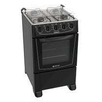 Fogão Atlas 4 bocas preto com forno limpa fácil - Coliseum com Acendimento manual + Trempe dupla e Forno 50L - Atlas eletrodomésticos