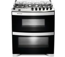 Fogão Brastemp 5 bocas duplo forno Branco com acendimento automático e mesa flat top -