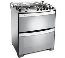 Fogão Brastemp 5 bocas duplo forno cor Inox com acendimento automático e mesa flat top -