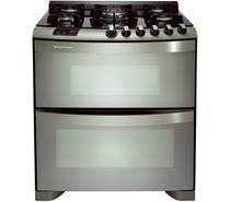 Fogão Brastemp 5 bocas duplo forno cor Inox com mesa de vidro e quadrichama -